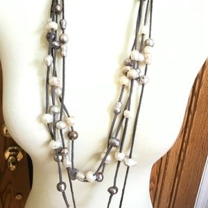 Jewelry - Freshwater pearl and gray leather cord  necklace